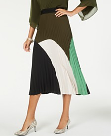 Alfani Petite Colorblock Pleated Midi Skirt, Created for Macy's