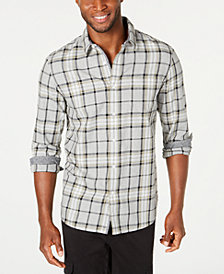 American Rag Men's Contrast Trim Plaid Shirt, Created for Macy's