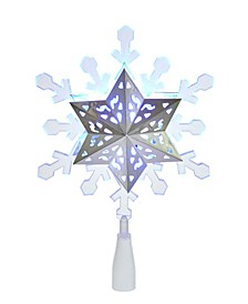 9 Inch Blue and White LED Rotating Snowflake Treetop