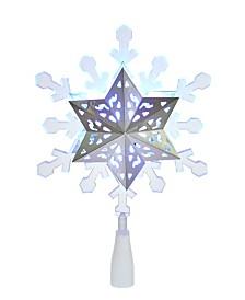 Kurt Adler 9 Inch Blue and White LED Rotating Snowflake Treetop