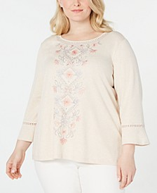 Plus Size Boardroom Embroidered Bell-Sleeve Top