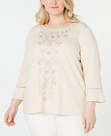 Alfred Dunner Plus Size Boardroom Embroidered Bell-Sleeve Top