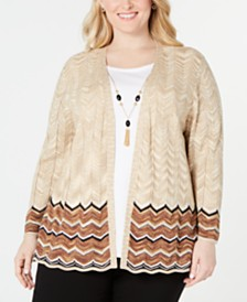 Alfred Dunner Plus Size Street Smart Chevron Layered-Look Necklace Top