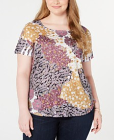 Style & Co Plus Size Printed Scoop-Neck Top, Created for Macy's