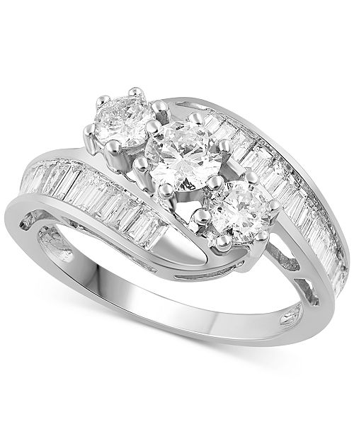 Macy's Diamond Bypass Ring in 14k White, Yellow or Rose Gold (1-1/2 ct. t.w.)