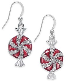 Silver-Tone Epoxy Pepperment Candy Drop Earrings, Created for Macy's
