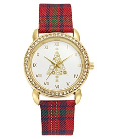 Holiday Tree Plaid Strap Watch 36mm, Created for Macy's
