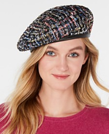 I.N.C. Tweed Sparkle Beret, Created for Macy's