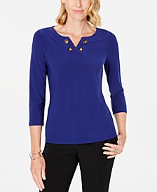 Split-Neck Grommet-Accent Top