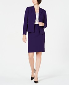 Le Suit Petite Wing-Collar Skirt Suit