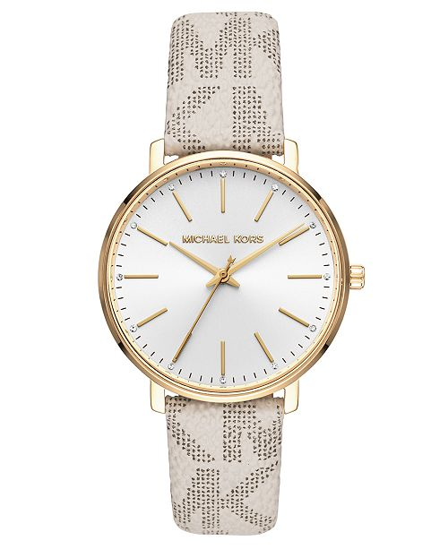 Michael Kors Women's Pyper Vanilla Logo Leather Strap Watch 38mm