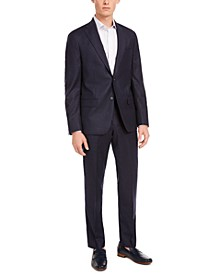 Men's Modern-Fit Stretch Navy Stripe Flannel Suit Separates