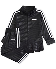adidas Baby Girls 2-Pc. Geo-Stripe Tricot Jacket & Jogger Pants Set