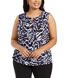 Plus Size Zebra-Print Keyhole Top