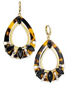 I.N.C. Gold-Tone Pavé, Imitation Pearl & Tortoise-Look Drop Earrings, Created For Macy's