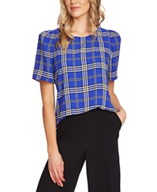 Vince Camuto Plaid-Print Top