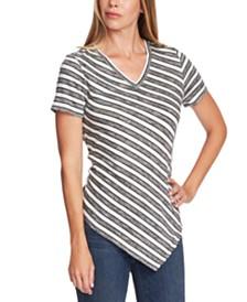 Vince Camuto Striped Asymmetrical T-Shirt