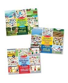 Melissa and Doug Reusable Sticker Pad Bundle - Habitats, Vehicles, and Town