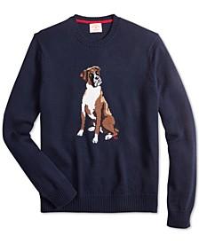 Men's Red Fleece Regular-Fit Dog Graphic Sweater