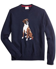 Brooks Brothers Men's Red Fleece Regular-Fit Dog Graphic Sweater