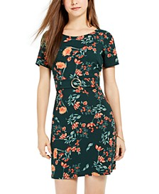 Juniors' Belted Floral Dress