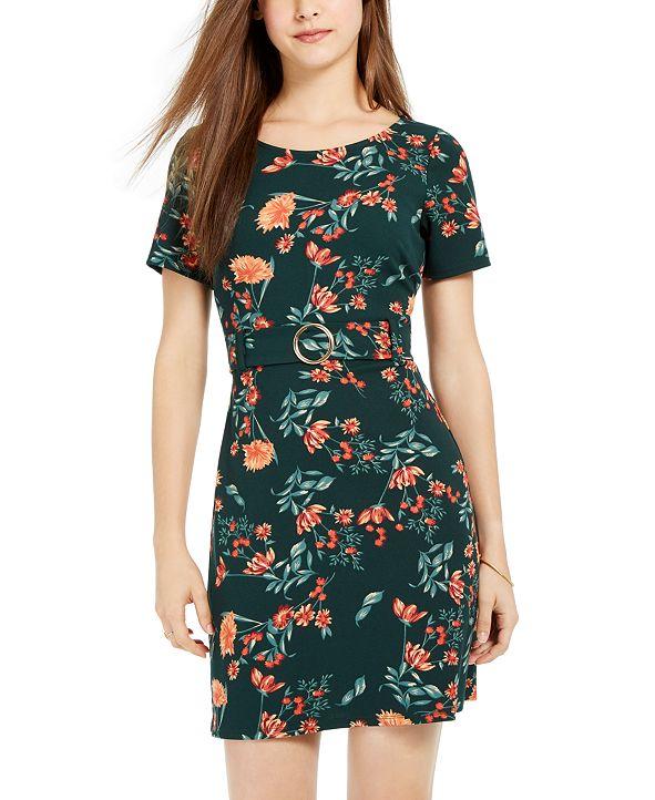 B Darlin Juniors' Belted Floral Dress