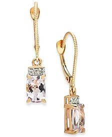 Pink Amethyst (1-5/8 ct. t.w.) & Diamond (1/20 ct. t.w.) Drop Earrings in 14k Rose Gold
