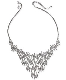 """INC Silver-Tone Pavé Zig-Zag Statement Necklace, 17"""" + 3"""" extender, Created for Macy's"""