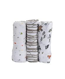 Forest Friends Cotton Muslin 3-Pack Swaddle Blanket Set
