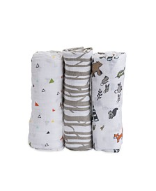 Little Unicorn Forest Friends Cotton Muslin 3-Pack Swaddle Blanket Set