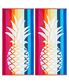 American Dawn Pineapple Double Velour Jacquard Beach Towel 2 Piece Set