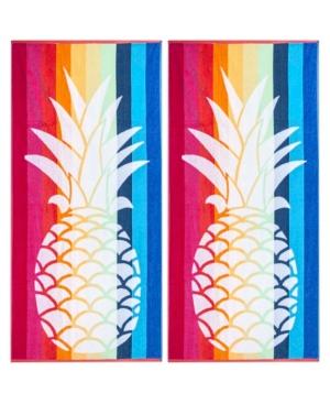 Image of American Dawn Pineapple Double Velour Jacquard Beach Towel 2 Piece Set Bedding