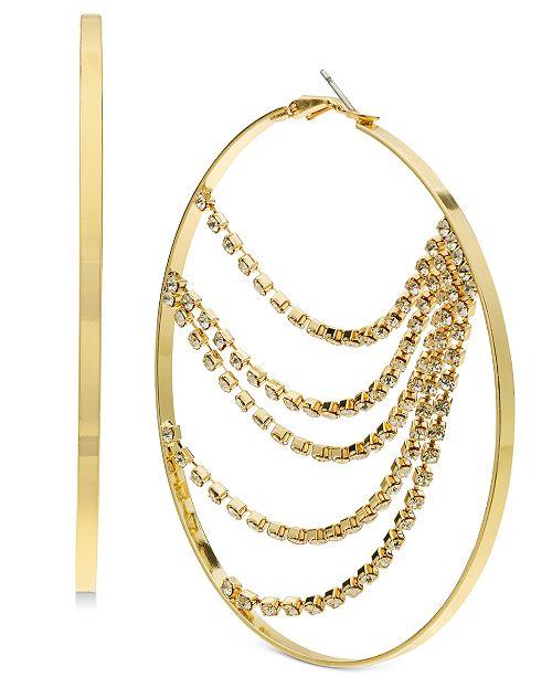 Thalia Sodi Rhinestone Chain Hoop Earrings, Created For Macy's