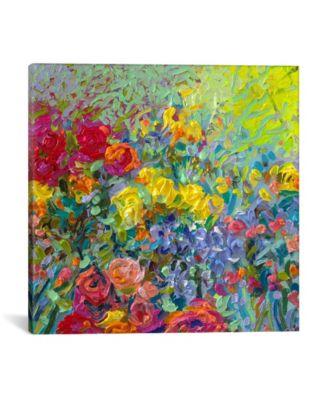 "Clay Flowers by Iris Scott Wrapped Canvas Print - 18"" x 18"""