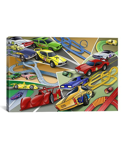 """iCanvas Cartoon Racing Cars Children Art by Unknown Artist Wrapped Canvas Print - 26"""" x 40"""""""