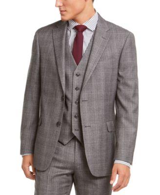 Men's Modern-Fit THFlex Stretch Gray/Black Plaid Suit Separate Jacket