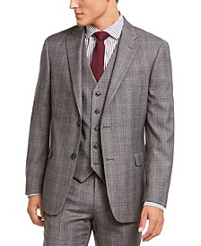 Men's Modern-Fit THFlex Stretch Gray/Black Plaid Suit Separate Jacket