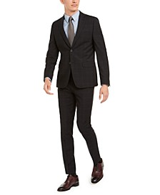 Men's Skinny-Fit Infinite Stretch Black Plaid Suit Separates