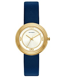 Tory Burch Women's Bailey Blue Leather Strap Watch 34mm
