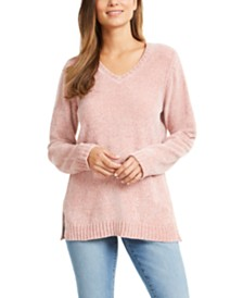 Karen Scott Petite V-Neck Chenille Sweater, Created For Macy's
