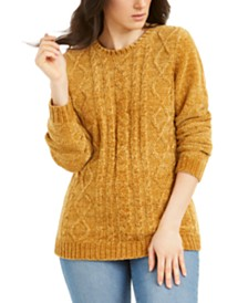 Karen Scott Cable-Knit Chenille Sweater, Created for Macy's