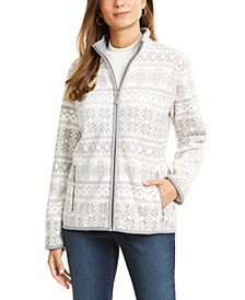 Petite Fair Fleece Isle Zippered Jacket, Created For Macy's