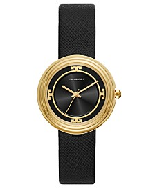 Tory Burch Women's Bailey Black Leather Strap Watch 34mm