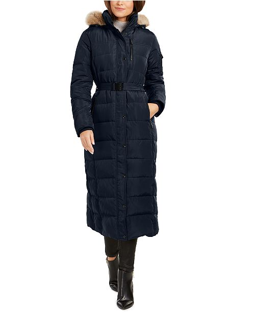 Michael Kors Belted Faux-Fur Trim Hooded Maxi Down Coat