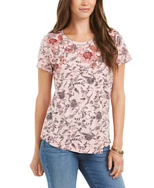 Style & Co Printed Short-Sleeve Cotton T-Shirt, Created for Macy's