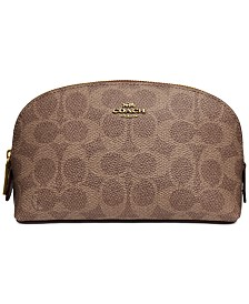 COACH Coated Leather Canvas Signature Cosmetic Case 17