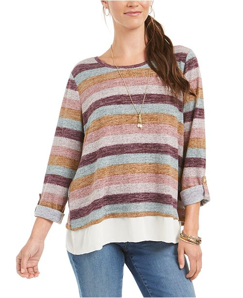Style & Co Petite Striped Layered-Look Sweater, Created for Macy's