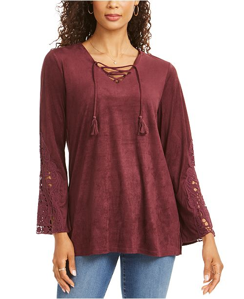 Style & Co Faux-Suede Lace-Up Top, Created for Macy's
