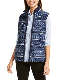 Petite Fair Isle-Print Fleece Vest, Created For Macy's