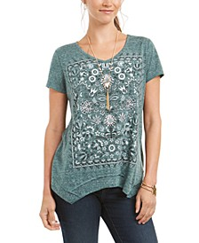 Petite Graphic Handkerchief-Hem Top, Created for Macy's